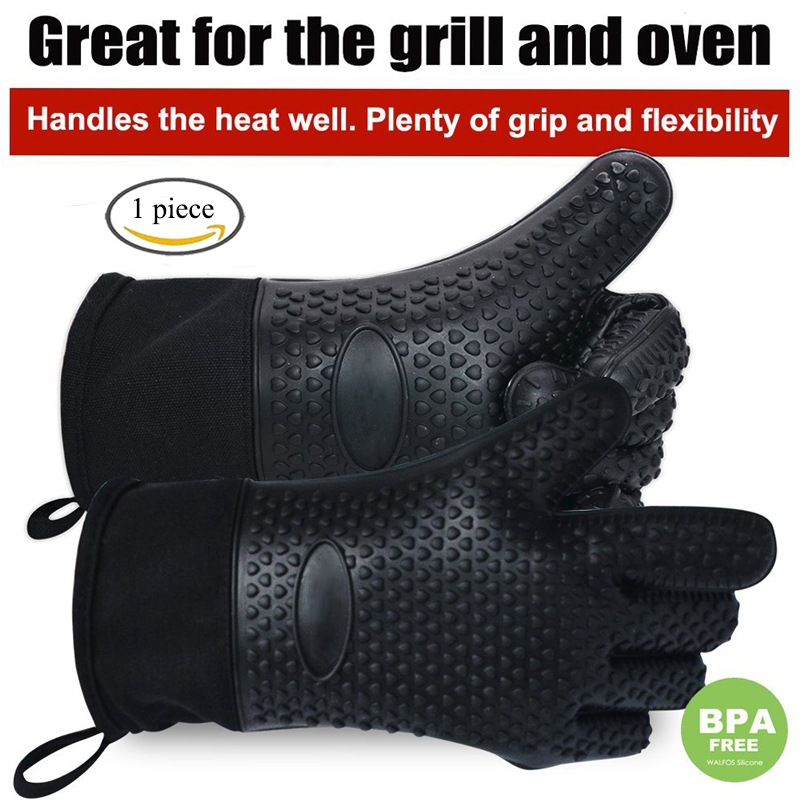 1 piece long silicone kitchen gloves-BBQ grill gloves heat resistant cooking gloves for grilling microwave oven mitts gloves