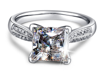 Victoria Princess 3CT Luxury Jewelry Solitaire 7MM 925 Sterling Silver White AAA CZ Simulated stones Wedding Band Ring Size 4 10