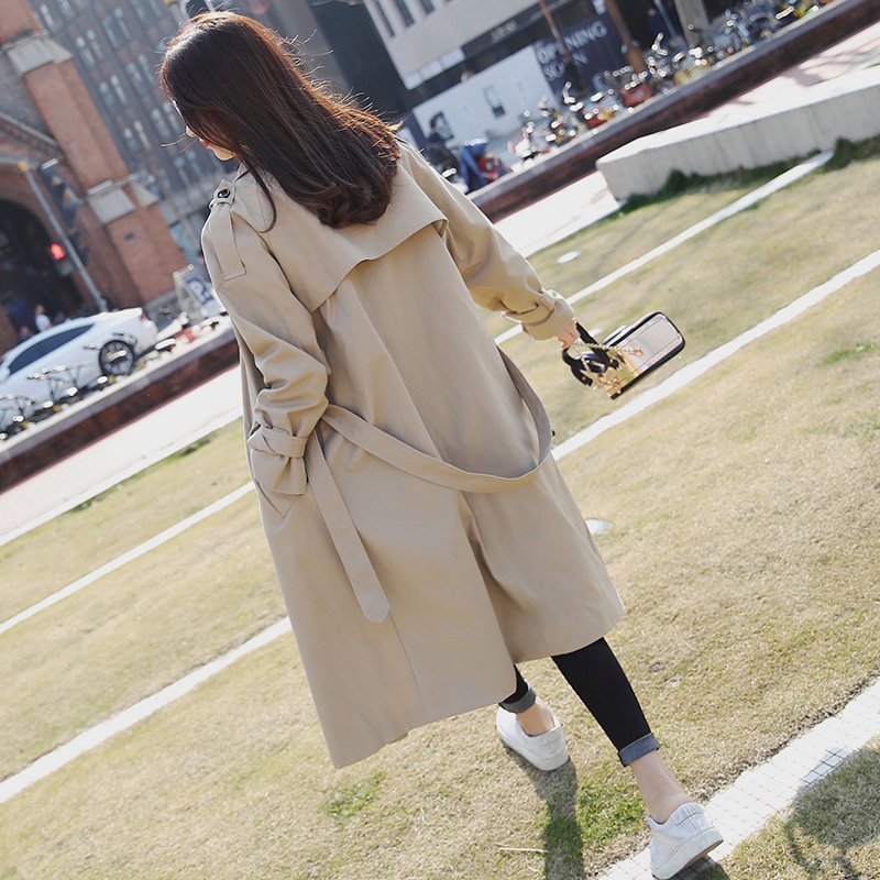 2019 retro Spring Autumn   Trench   Women Solid khaki Color Lady Long Windbreak single Breasted Slim   Trench   Coat With Belt V657