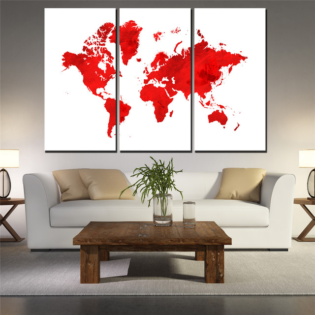 3 Pieces Ancient Retro The World Map Canvas Painting Wall Art The