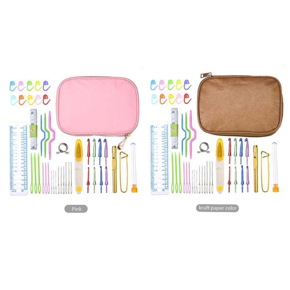 43pcs/Set Synthetic Thread Needle Sewing Kit Bag Tools & Accessory Nylon Sewing Tool Set Crochet Hooks Kit Bag For Mom