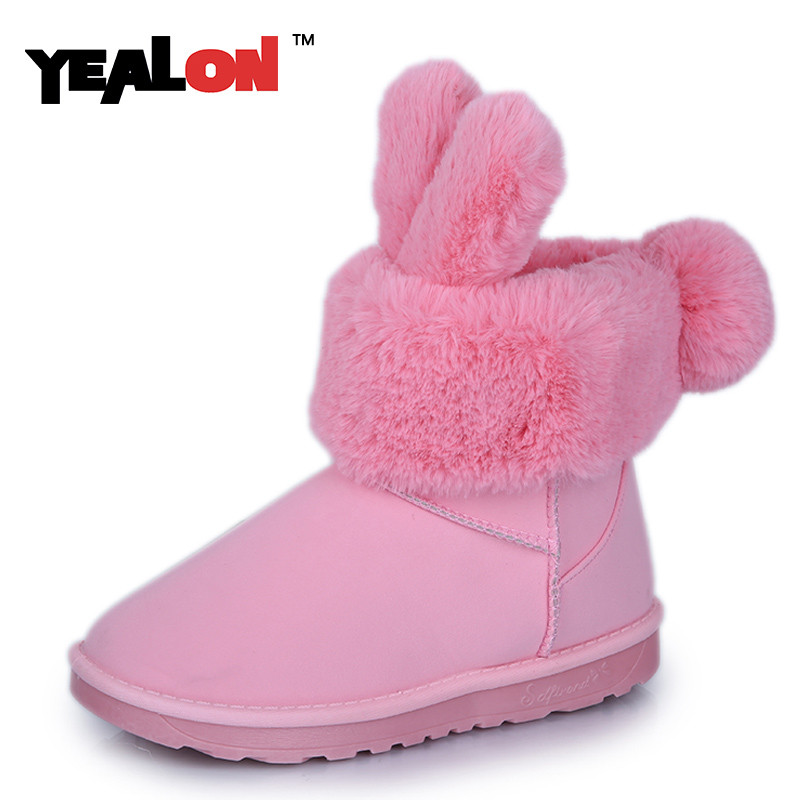 YEALON Women Boots Shoes Fashion Ankle For Big Size 34-40 Winter Woman Fur 3 Color