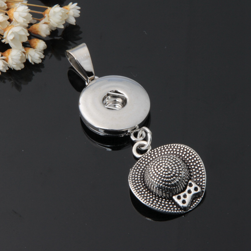 19styles! 2PC Diy Snap Button Jewelry Tibetan Bow Hat Charms Metal Diy 18mm Snap Button Pendant For Snap Necklaces Jewelry