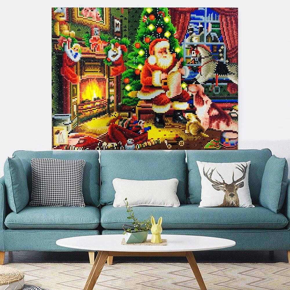 Image 3 - HUACAN Christmas Diamond Painting LED Light Diamond Mosaic Santa  Claus Diamond Embroidery Round Drill With Frame 40x50cmDiamond Painting  Cross Stitch
