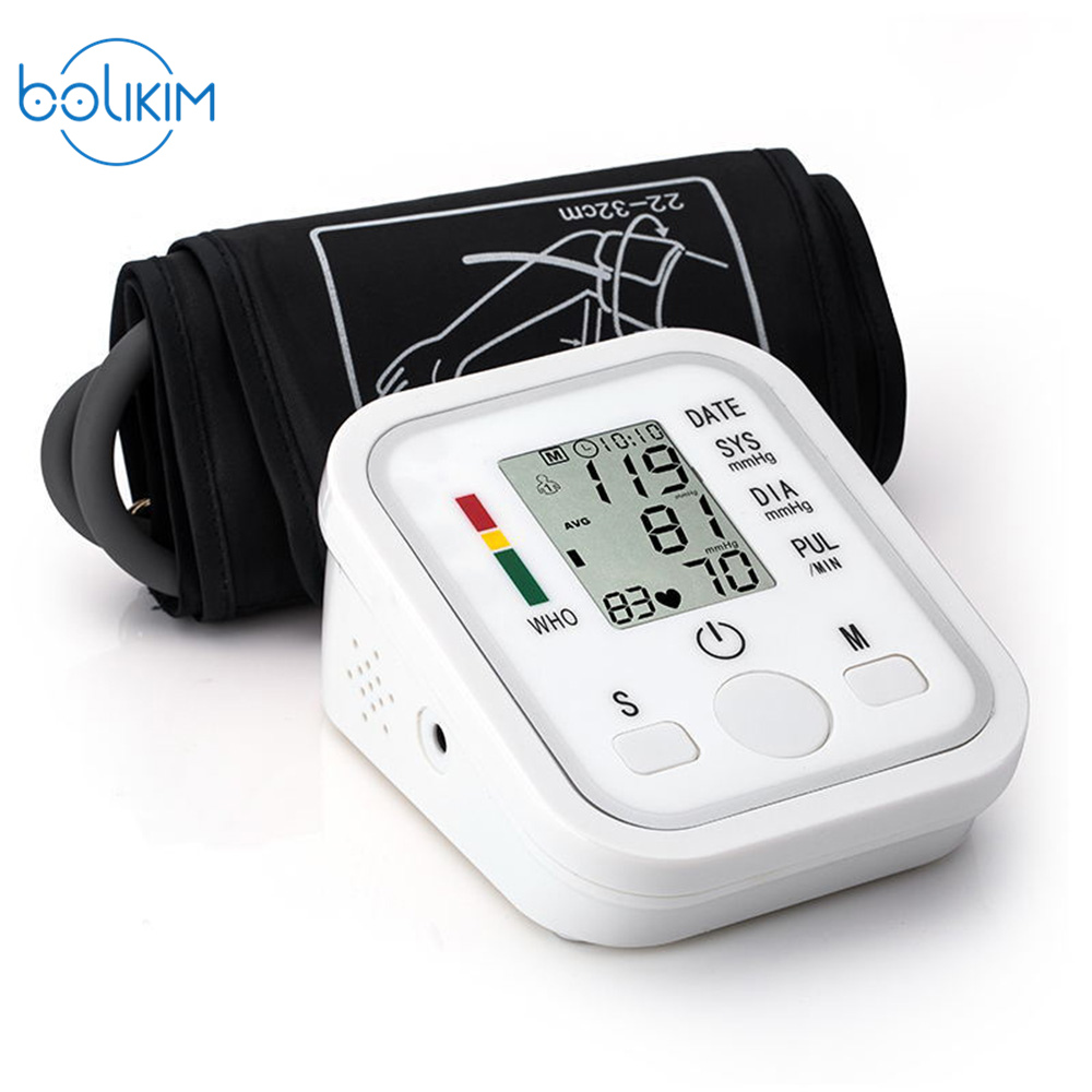 Digital Upper Arm Blood Pressure Pulse Monitors tonometer Portable health care bp Blood Pressure Monitor meters sphygmomanometer blood pressure monitor automatic digital manometer tonometer on the wrist cuff arm meter gauge measure portable bracelet device
