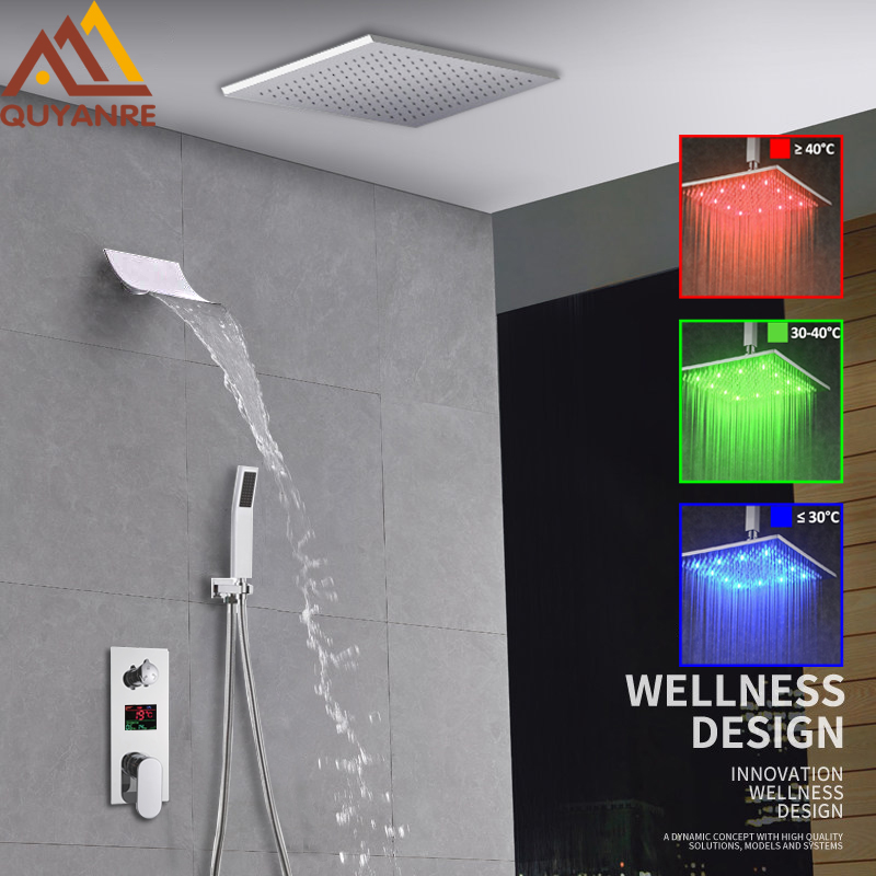 Luxury LED Rainfall Waterfall Shower Faucet Kit LED Rain Shower With Waterfall Spout LCD Digital Display