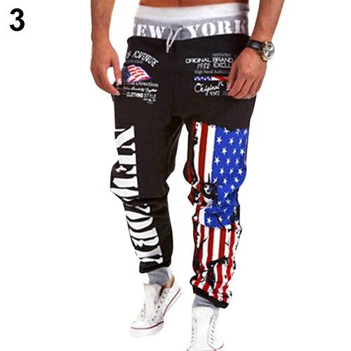 arrival Fashion Men US Flag Dance Sportwear Baggy Harem Pants Slacks Trousers Sweatpants