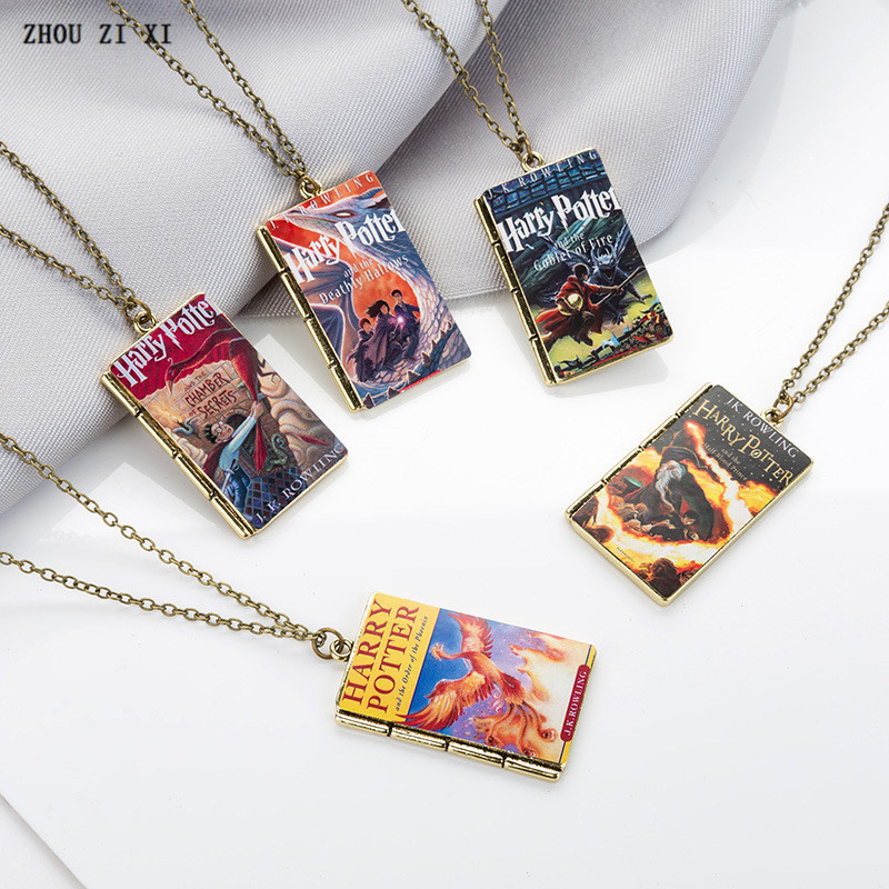 Harry potter cartoon series European and American style book model pendant necklace key ring festival gift Toys