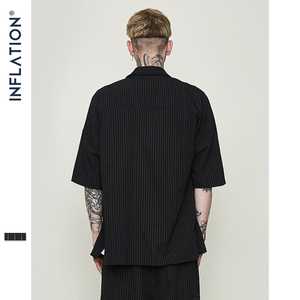 Image 4 - INFLATION Brand Shirt Stripe Short Sleeve Casual Shirt Oversized High Quality Male Shirts Streetwear 2020 Men Clothes 9235S