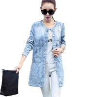 POENFLY Plus SizeS 4XL New Women S Long Denim Jackets Coats Spring Autumn Outerwear Fashion Single