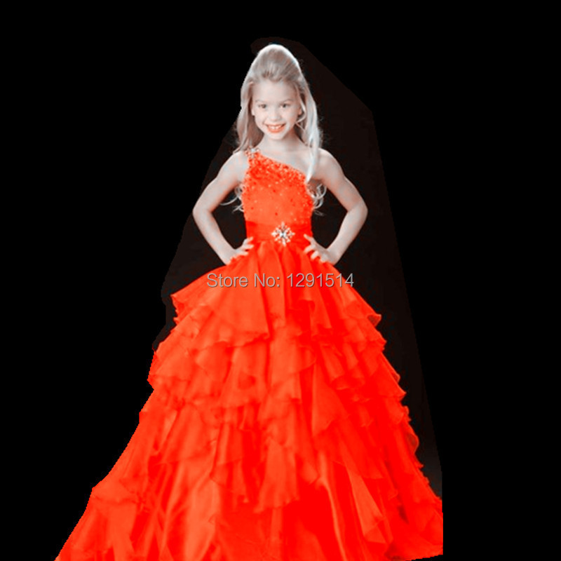 790a498672a Fuchsia Organza Princess Little Kids Flower Girls Pageant Dresses 2017 One  shoulder Oute Baby National Beaded Beauty Ball Gowns