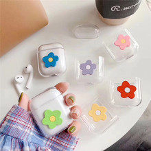 Lovely Fresh Flowers For apple Airpods case Transparent PC Hard Case Charging 1/2 Wireless Bluetooth Headset