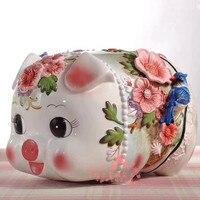 Негабаритная Керамическая Свинья копилка, домашний декор, украшения комнаты, предметы, орнамент, фарфоровая Подарочная фигурка животного д