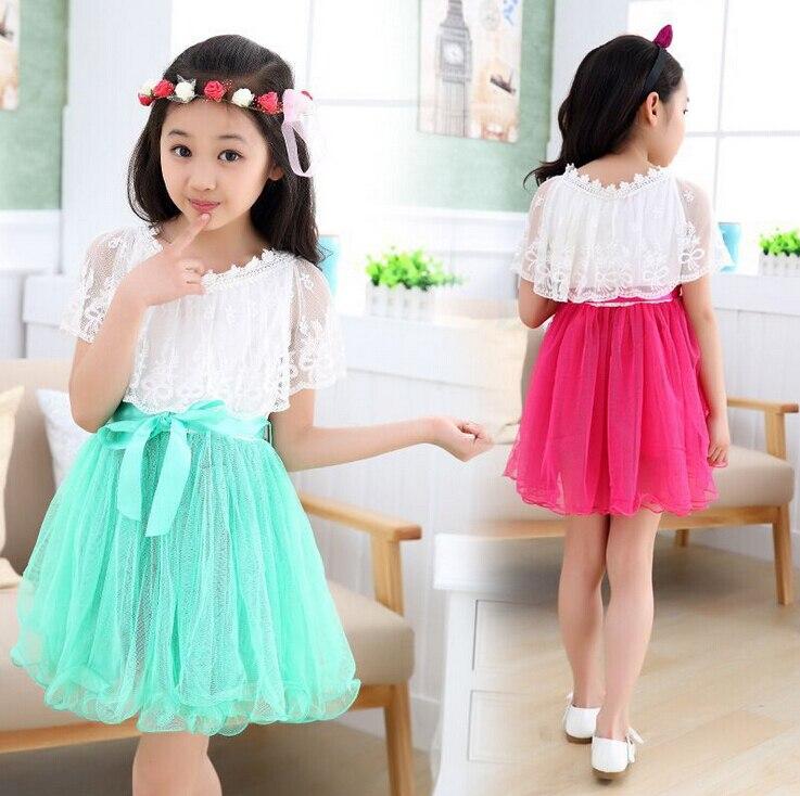 Online Shop Red and Lake Blue Teenage Girls Dress Lace Princess ...