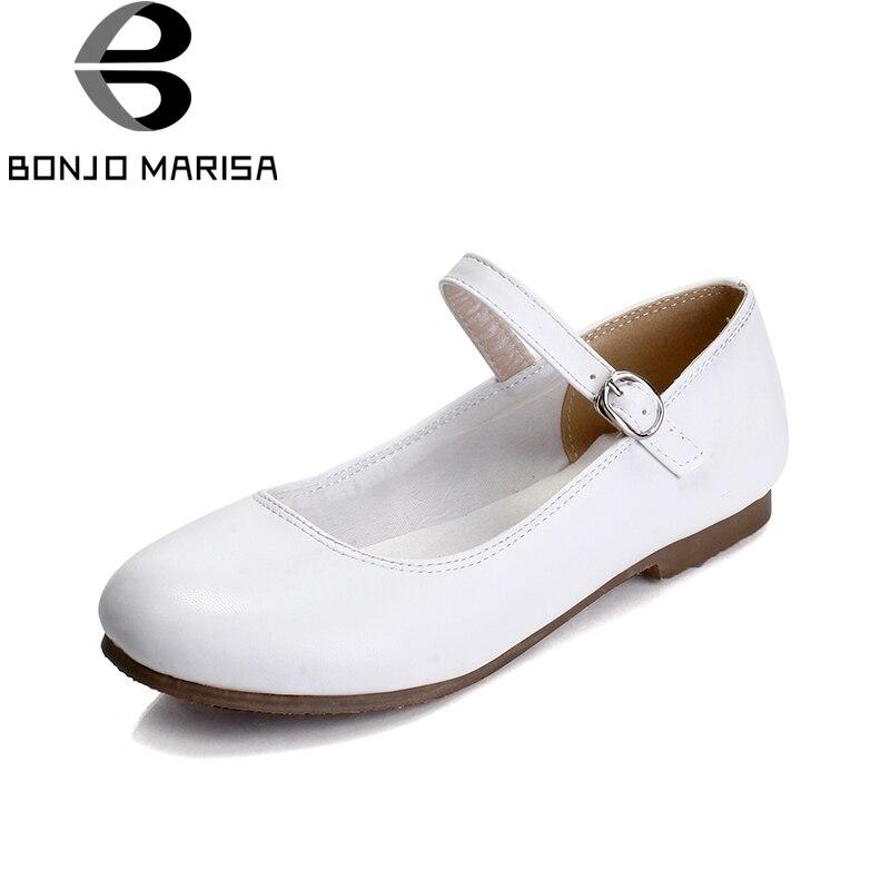 BONJOMARISA On Sale Big Size 30-43 Sweet Mary Janes Flats Comfortable Flats Shoes Women Soft Comfort Shoes Footwear Woman philip watch часы philip watch 8223597010 коллекция caribe