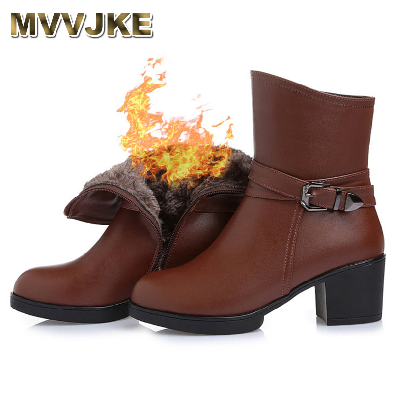 MVVJKE High Quality Genuine Leather Ankle Boots Women Elegant Metal High Heels Shoes Woman Platform Winter Boots Size 33-43 E046 elegant handmade women boots flower high quality women shoes autumn and winter genuine leather thick heels platform ankle boots