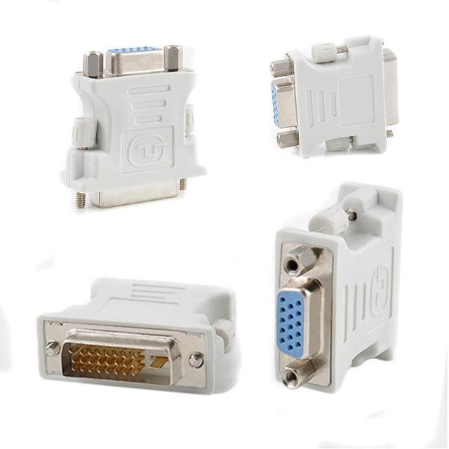 24 + 1 Pin VGA Adapter Paduan + Plastik DVI-D Pria untuk 15 Pin VGA Female Video Converter Fit untuk PC Laptop