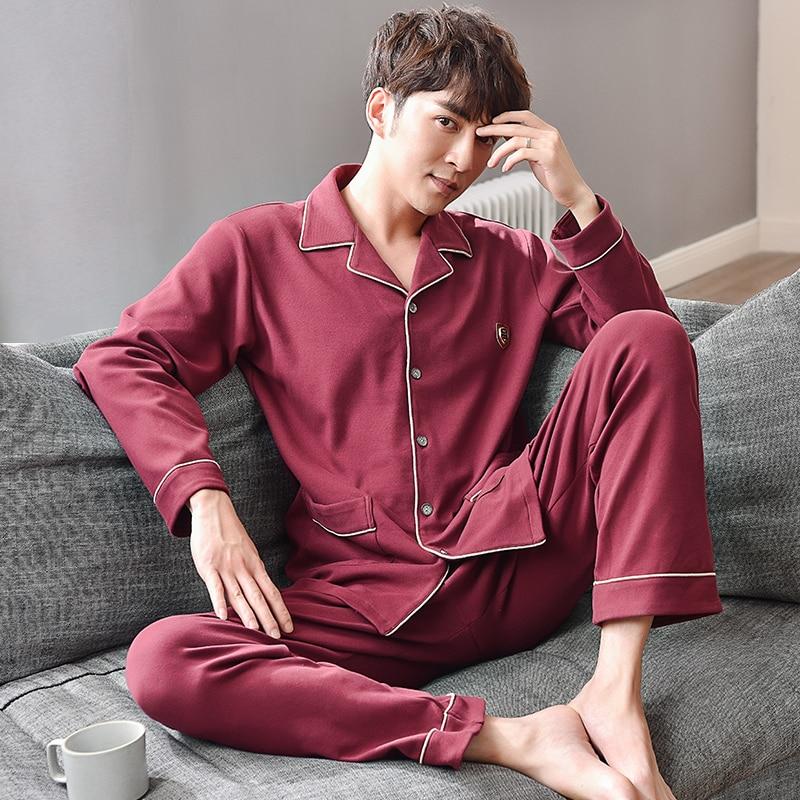 Spring&Autumn New Men Pajama Set Long Sleeve Cotton Man Pyjamas Solid Color Plus Size Pajamas Casual Turn-down Collar Sleepwear