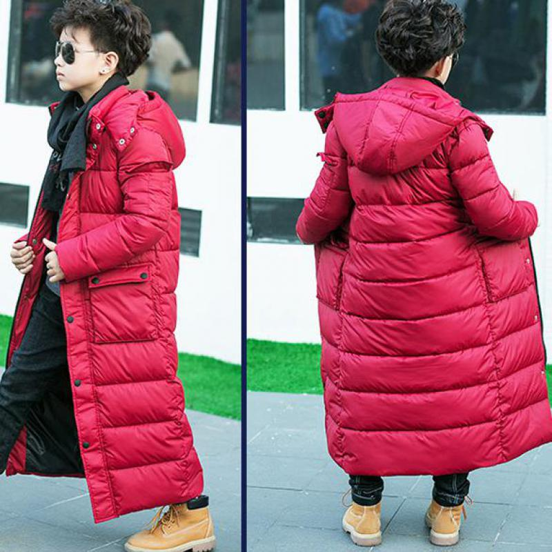 2018 Boys Extra Long Warm Cotton Down Coats Children Outdoor Hooded Windbreakers Kids Jackets For Cold