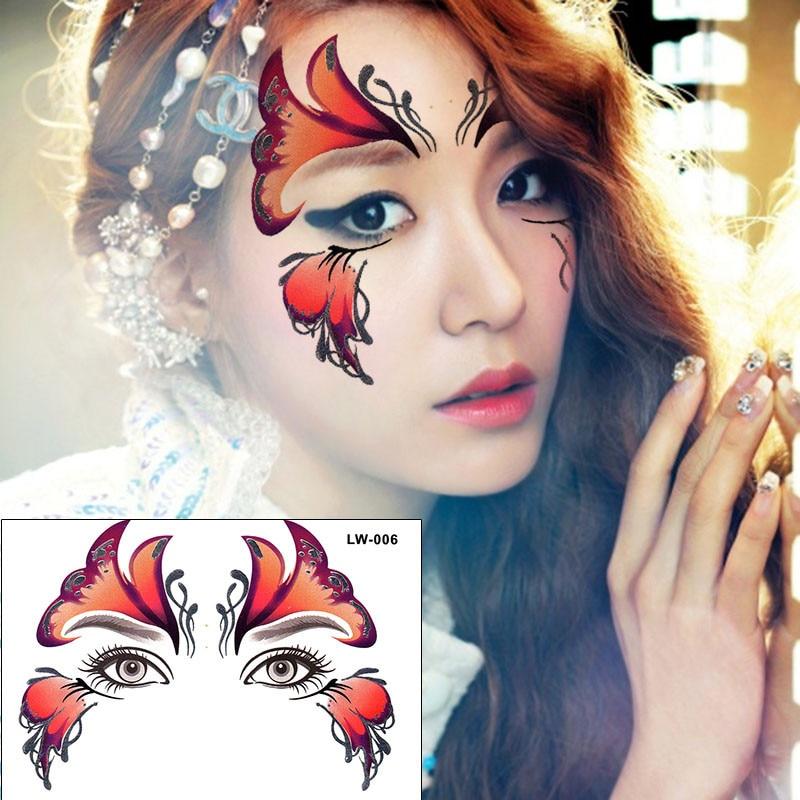 2 шт./лот Хэллоуин Henna глаз Стикеры красный Уход за кожей лица Стикеры цветок бабочка макияж партии исполнительских искусств временная татуировка Стикеры