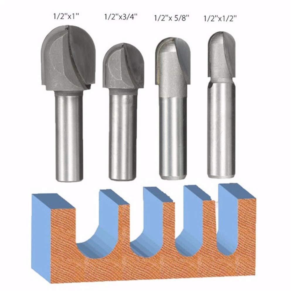 """1/2 Zoll Kopf Durchmesser Bits 1/2 """"3/8"""" 5/16 """"1/4"""" Schaft Core Box Ball Runde Nase Router Bits"""