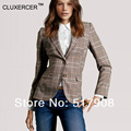 CLUXERCER Brand Fashion Women Jackets Slim Plaid Elbow Blazer Causal Office Suit women blazers and jackets Vintage women blazer