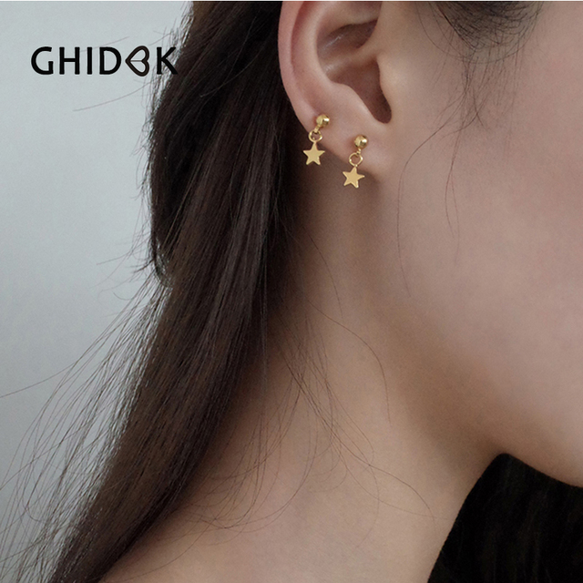 1c8922e85 GHIDBK Simple Gold Color Tiny Star Ball Stud Earrings for Women Minimalist  Small Post Earrings Dainty