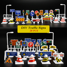 28 PCS DIY Model Scene Toy Road Sign Roadblock Traffic Sign Educational Toy Gifts For Kids Drop shipping traffic lights toy 24cm road signs children model scene simulation teaching child traffic light signal lamp toy live voice