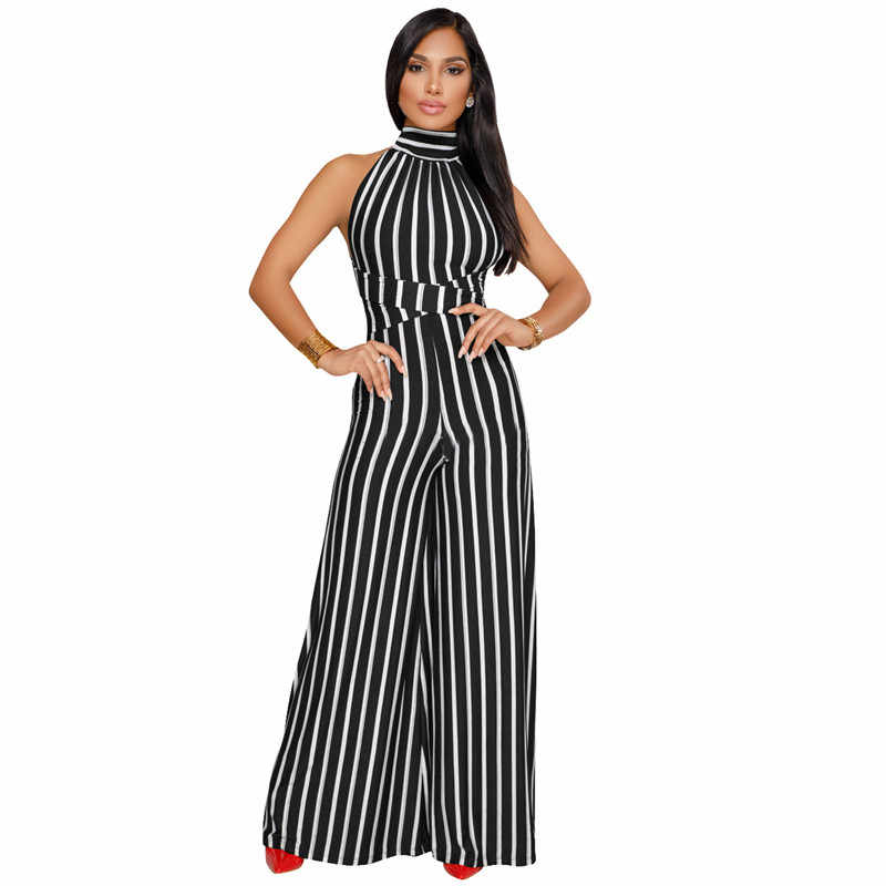 60b118c0b4c ... Backless Striped One Piece Jumpsuit 2019 New Fashion Women Outfits Sexy  Rompers Elegant Overalls Wide Leg ...