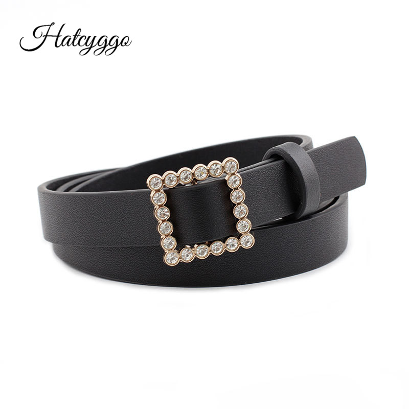 HATCYGGO Waist Belt Female Leather Without Buckle Belts For Women Casual Rhinestone Slim Waistband Ladies Dress
