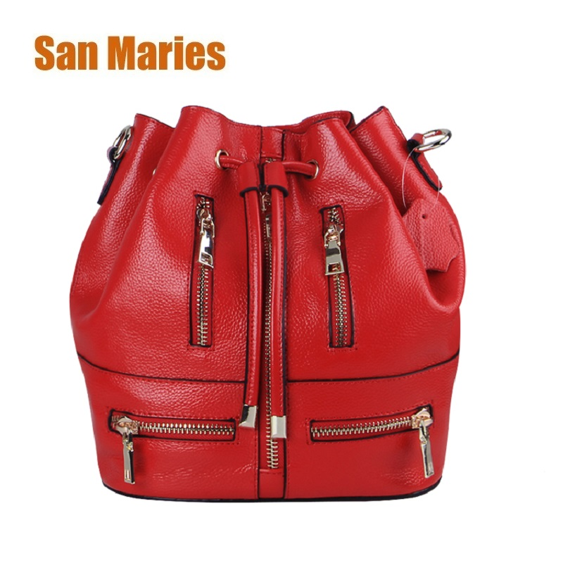San Maries High Quality Shoulder Bags Girls Real Cow Leather Retro Woman Crossbody Bag Solid Color Fashion Drawstring Female Bag fashion letter print drawstring embellished solid color bucket hat