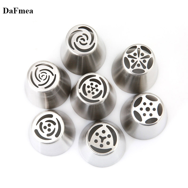 7PCS/Set Stainless Steel Russian Tulip Icing Piping Cake Nozzles Cream Pastry Decorating Tips Set Cake Cupcake Confeitaria