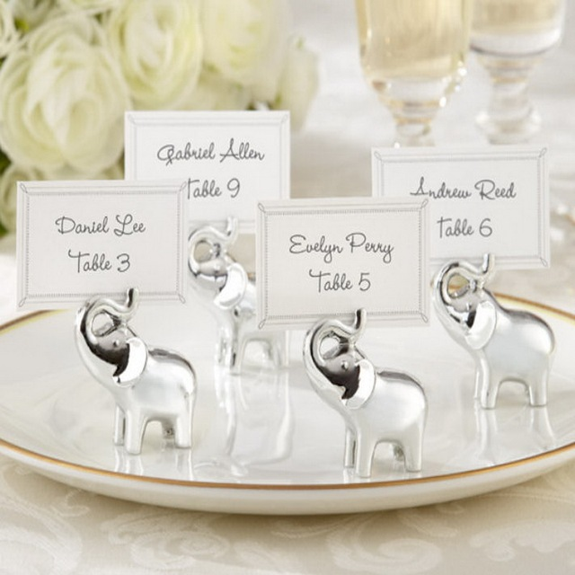 Free Shipping 24pcs Lot Baby Elephant Wedding Place Card Holder Party Table