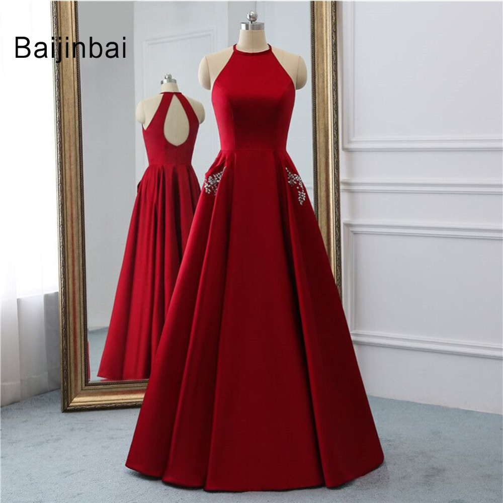 Baijinbai Sexy   Prom     Dresses   2019 O-neck Beading Party   Dress   Sleeveless Evening Formal Gowns vestido de festa longo Real Photos