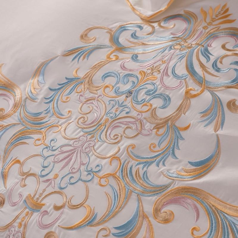 럭셔리 퀸 킹 사이즈 침대 시트 화이트 이집트면 침구 세트 침대 세트 베드 리넨 이불 커버 parrure de lit ropa de cama-에서침구 세트부터 홈 & 가든 의  그룹 3