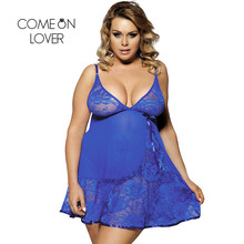 25522946575 Comeonlover Sexy Nightdress Floral Soft Lace Apron Sexy Chemise With Thong  RI80158 Blue Plus Size Babydoll