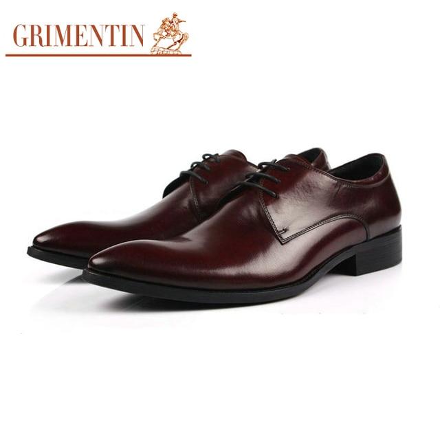 883d65acb Grimentin moda italiana hombres de negocios zapatos de cuero ocasionales  2016 de lujo negro marrón Hombre