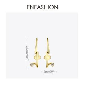 Image 4 - ENFASHION 번개 스터드 귀걸이 여성을위한 골드 컬러 펑크 기하학 미니멀리스트 크리스탈 귀걸이 패션 주얼리 Kolczyki EC1040