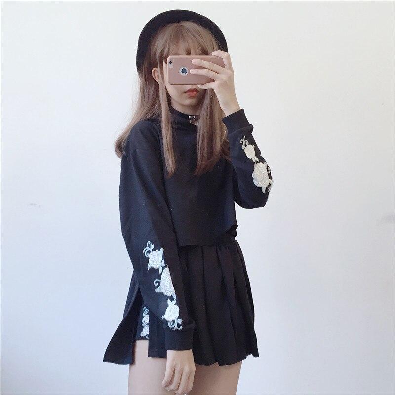 Japonais Harajuku mode femmes noir sweat à capuche Rose broderie Crop hauts décontracté Streetwear court sweat deux pièces ensemble