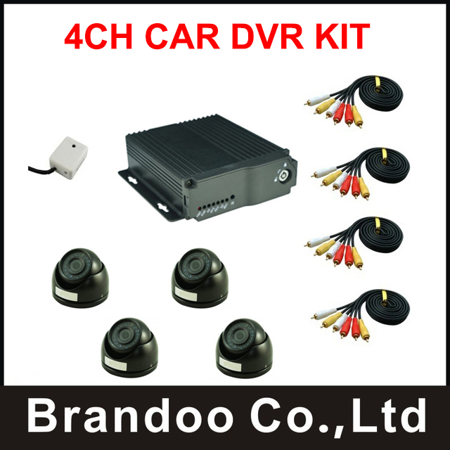 4CH SD mobile DVR with 4pcs night vision dome camera for car bus truck fleet taxi school bus use,free shipping