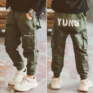 INS hot boys pants 3-13 years old pocket Summer print letter cargo pants children's Fashion overalls cotton trousers boys gift