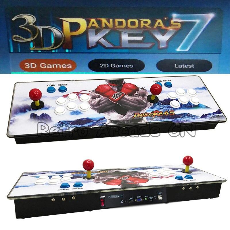 2018 Date 3D Jeu console Pandora 7 Arcade 2177 dans 1 Match À Domicile LED contrôleur avec Joystick Boutons PCB Conseil VGA/HDMI pour TV