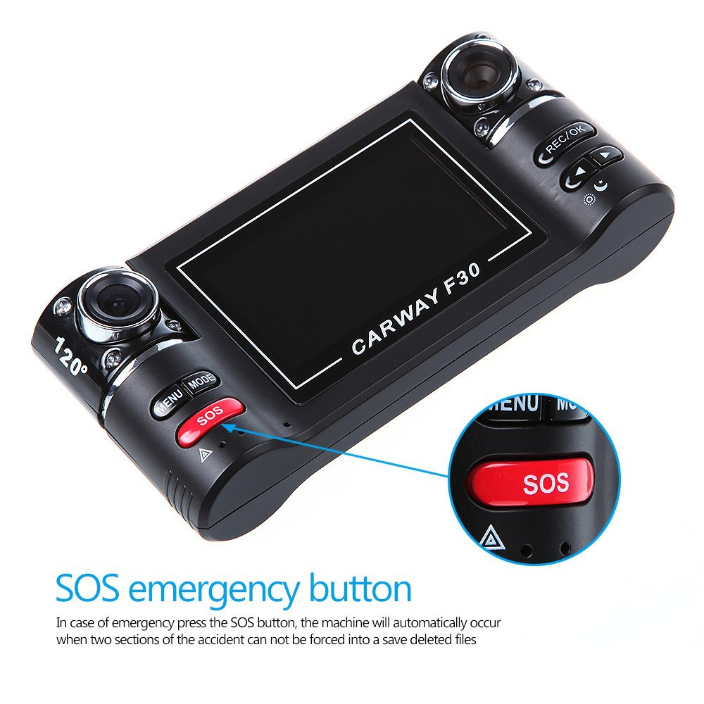 XYCING F30 Car DVR Dual Camera Car Camcorder Dual Lens 2.7 inch TFT Screen SOS Button Motion Detection 8 IR Light Night Vision