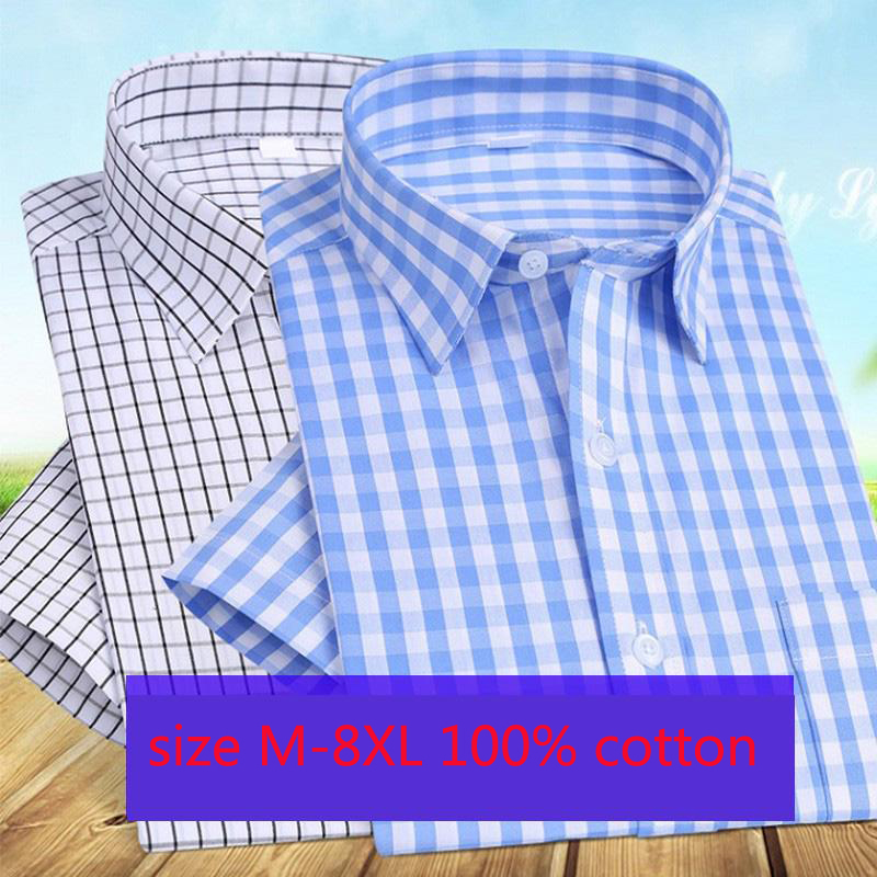 2019 New Arrival Men Loose Short Sleeved Large Thin Summer Pure Cotton Stripe Shirts Smart Casual Plaid Fashion Plus Size M-8XL