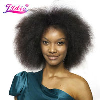 Lydia Short Synthetic Wigs 6inch None Lace Front Wig Kinky Curly Kanekalon Heat Resistant For Black