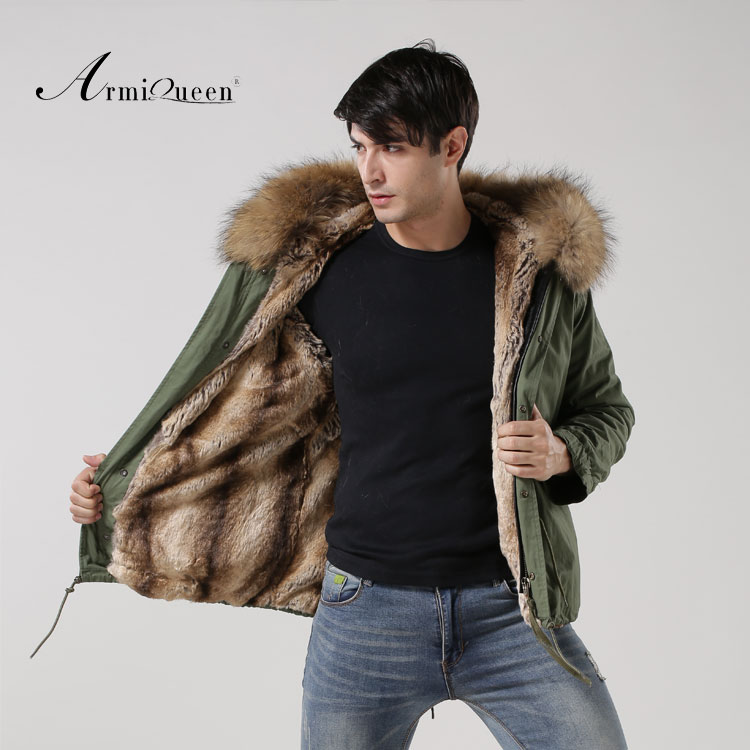 New Arrival 2016 fashion Natural fur collar coat army green big yards long section cotton coat
