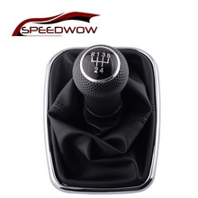 SPEEDWOW PU Leather Shifter Stick Gear Shift Knob 5 Speed Car Collars Covers For VW Golf R32 Bora MK4 Jetta