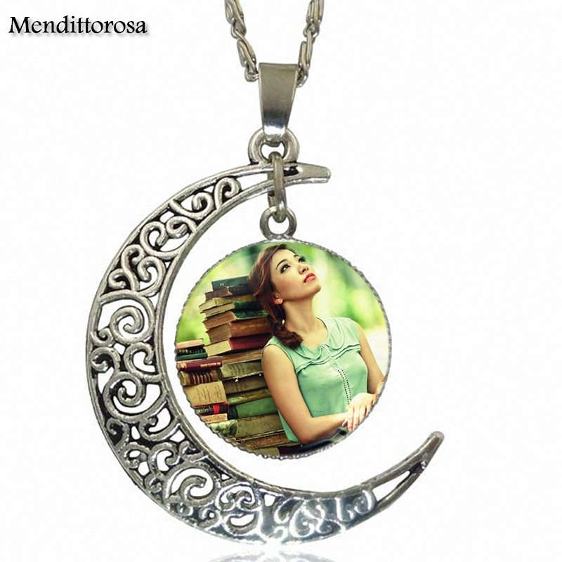 Mendittorosa Girl Read Books For Women Christmas Gift Vintage Jewelry Silver Plated With Crescent Shaped Luminous Necklace