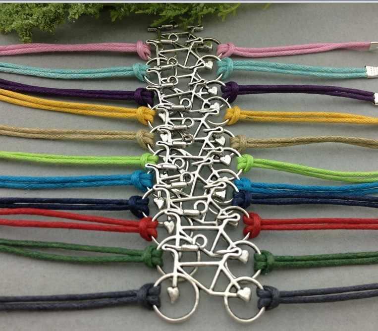 10pc bransoletka rowerowa-srebrna bransoletka Charm, bransoletka nieskończoność, bransoletka sznurkowa woskowa, prezenty dla przyjaciół 1366