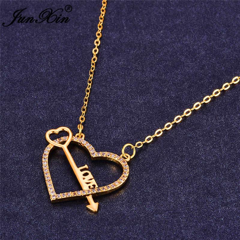 Femmes blanc flèche coeur colliers et pendentifs mode 925 argent Sterling rempli bijoux amour lettre colliers pour les femmes